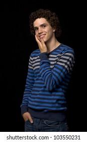 young casual man portrait, studio picture