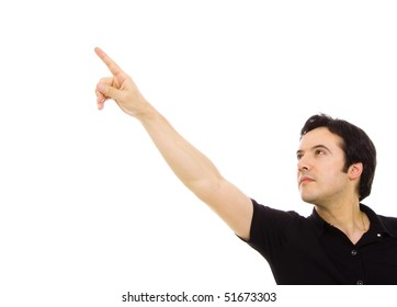 young casual man in a suit pointing with is finger, isolated on white