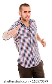 young casual man thumb up in a white background