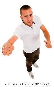 young casual man thumbs up in a white background