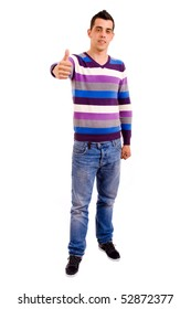 young casual men full body thumbs up on white background