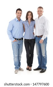 Young casual office team standing together, smiling at camera, cutout portrait.