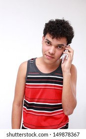 Young casual student smiling on the phone