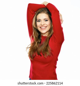 young casual style dressed in red woman posing against white background. studio isolated. long hair.