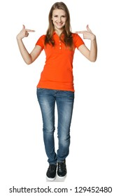 Young casual woman pointing at herself cheering happy standing in full length, isolated on white background