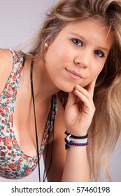 Young casual woman portrait - isolated