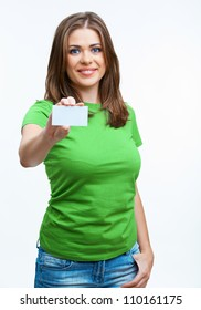 Young casual woman style isolated over white background hold  sign card.