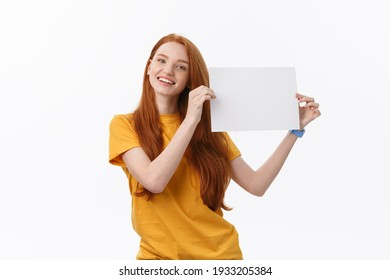 Young casual woman style isolated over white background hold sign card