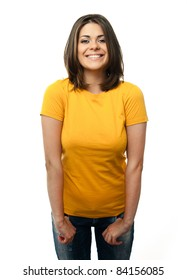 Young casual woman style isolated over white background. studio portrait,