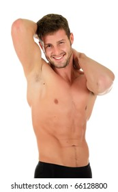 Young caucasian athletic man showing muscle. Happy and invigorated look. Studio shot. White background