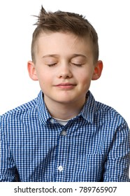 Young caucasian boy with closed eyes head and shoulder portrait isolated on white backgroundModel Release: Yes. Property Release: No. - Shutterstock ID 789765907