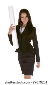 young caucasian brunette businesswoman holding a roll of paper.Concept of house selling