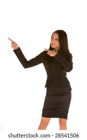 young caucasian brunette businesswoman,pointing isolated on white with her finger.Concept of product presenting