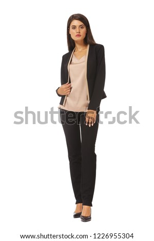 92a48991885 young caucasian business woman executive posing in black casual pant suit  and pink blouse full body