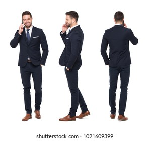 Young caucasian businessman calling front, side, back view, isolated on white