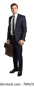 young caucasian businessman holding bag isolated on white background