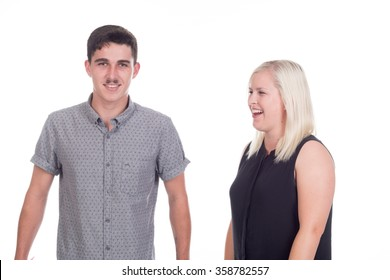 young caucasian couple or siblings in studio