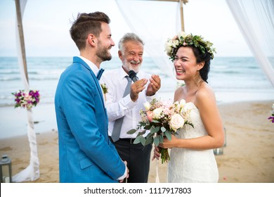 Young Caucasian couple wedding day