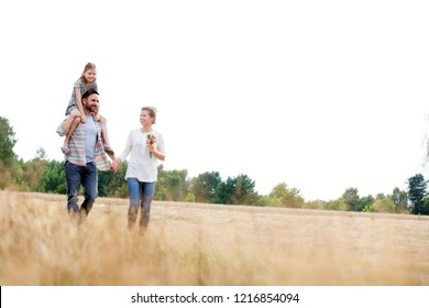 Young Caucasian family walking across field with young child on her fathers shoulders with the wife holding a bouquet of flowers
