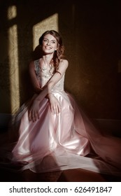 young caucasian female in evening prom dress