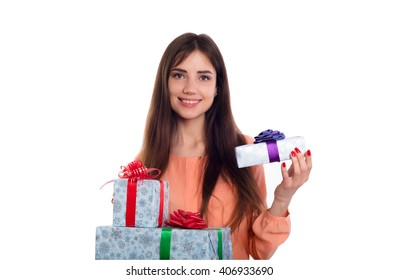 young caucasian female with present boxes isolated on white