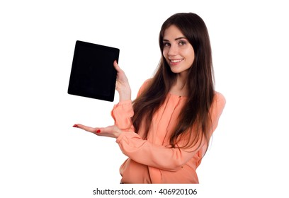 young caucasian female with tablet isolated on white