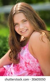 young caucasian girl posing