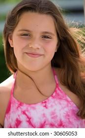 young caucasian girl smiling