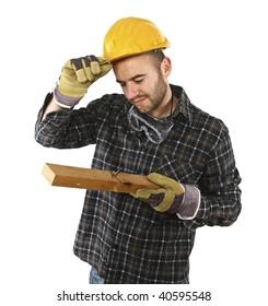 young caucasian handyman check his bad work