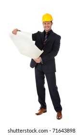 Young caucasian man architect with helmet and holding plans. Studio shot. White background.