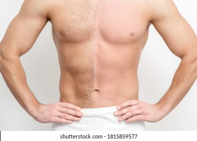 Young caucasian man with bare chested before and after waxing his hair stands on white background