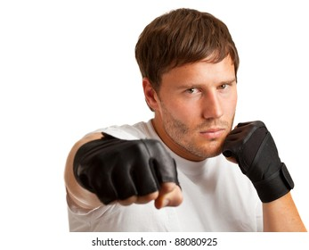 Young caucasian man boxing; isolated on white background