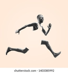 Young caucasian man running isolated on studio background. One male runner or jogger. Healthy lifestyle, movement, action, motion, advertising and sports concept. Abstract design.