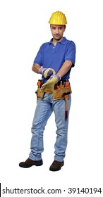 young caucasian manual worker on white background