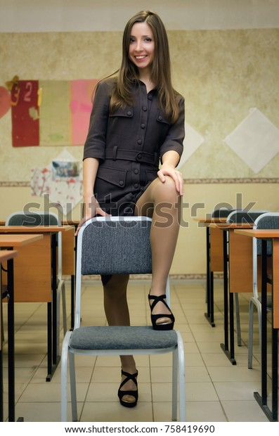 Young Caucasian Sexy Teacher Glasses Long Stock Photo -1981