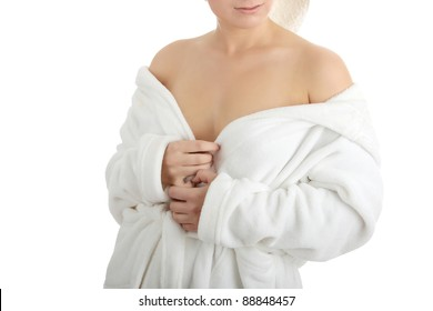 Young caucasian woman in bathrobe, isolated on white