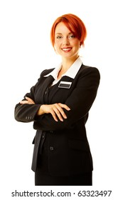 young caucasian woman as hotel worker smiling