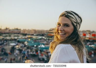 Young caucasian woman Jamaa el Fna square marrakesh