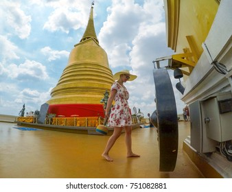 Young caucasian woman on the top of Golden Mount, Bangkok