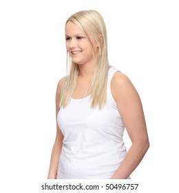 Young caucasian woman portrait, over white background