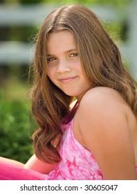 Young causasian girl posing