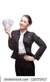 young cheerful caucasian brunette businesswoman in black suit holding money isolated on white