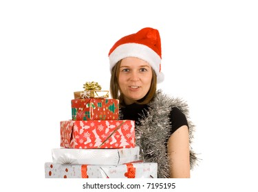 young cheerful girl with santa hat