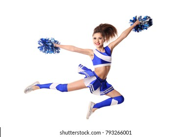 Young cheerleader in blue and white suit with pompoms on white background.