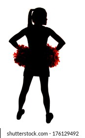 young cheerleader silhouette with hands on hips