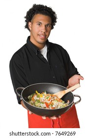 young chef with healthy food isolated