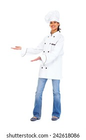 Young chef woman isolated over white background