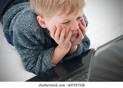 Young child browsing the internet
