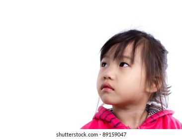 Young child looking up at copy space for your text