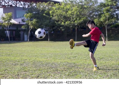 young child play soccer ball in green grass field, kid athlete with jersey training football in sunny outdoor park